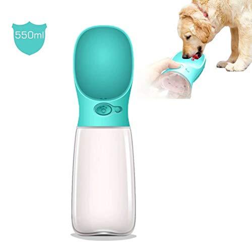 MalsiPree Botella de Agua para Perros, dispensador de Agua para Cachorros portátil a Prueba de Fugas con alimentador para Mascotas para Caminar, Caminar, Viajar al Aire Libre (550ML, Azul)