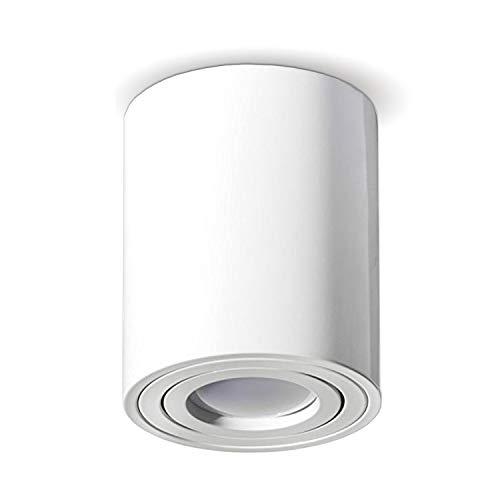 JVS Aufbauleuchte Aufbaustrahler Deckenleuchte Aufputz Led MILANO -LANG- GU10 Fassung 230V rund, weiss, schwenkbar Deckenleuchte Strahler Deckenlampe Aufbau-lampe CUBE Kronleuchter aus Aluminium