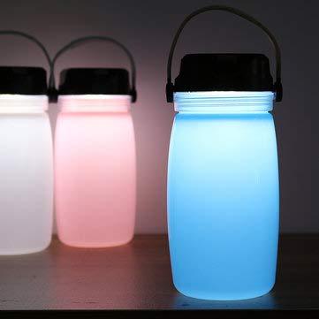 IPReeTM Lanterne d'extérieur de camping Bouteille d'eau solaire Chargement téléphone Charge Sports de plein air Voyage Alpinisme – 1 x bouteille d'eau de camping légère, bleu