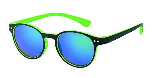 Chic-Net Hochwertige Sonnenbrille rund John Lennon Punkte 400UV Schlüsselloch Steg neon Farben grün
