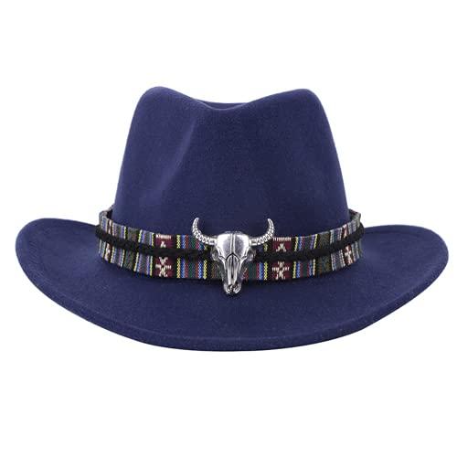 Trieskull Metallo Testa di Mucca Occidentale Cappello da Cowboy Autunno e di Inverno di Lana Cappello di Jazz Cappello di Feltro degli Uomini e Donne Top Hat Abbigliamento (56-58cm,Blue)