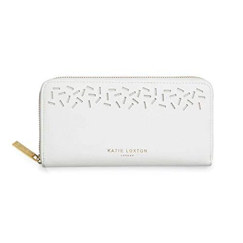 Katie Loxton Laser Cut Confetti Womens Vegan Leather Full Zip Wallet Purse White