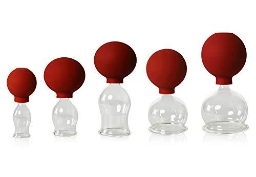 5er Schröpfglas-Set mit Ball 20-30-40-50-60mm zum professionellen, medizinischen,feuerlosen Schröpfen mundgeblasen, handgeformt, Schröpfglas, Schröpfgläser, Lauschaer Glas das Original