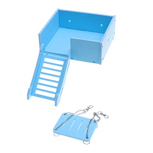 Balacoo Hamster Houten Platform Cavia Klimhelling Ladder Met Schommel Hout Vogel Zitstok Springplank Voor Fret Chinchilla Eekhoorn Rat Gerbil en Papegaai