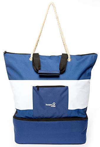 Grand sac de plage Hopeville XXL avec fermeture éclair et poche isotherme intégrée - Imperméable - Pour les vacances, les pique-niques et le shopping - Aspect marin - Bleu et blanc