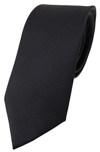 TigerTie Designer Krawatte in schwarz einfarbig Uni - Tie Schlips