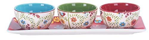 Bico Ceramics Dipschalen-Set (300 ml Schüssel mit 35,6 cm Platte), für Saucen, Nachos, Snacks und Frühstück, Mittagessen, Abendessen, Party, Event, Mikrowellen- und spülmaschinenfest Red-Spring-Birds