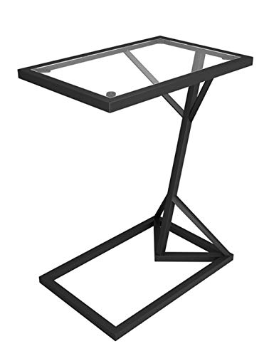 Smeedijzeren salontafel/kleine bijzettafel, glazen spiegel tafelblad, roestvrij metalen tafelframe, moderne minimalistische woonkamer bank zwart (58 × 45 × 30cm)