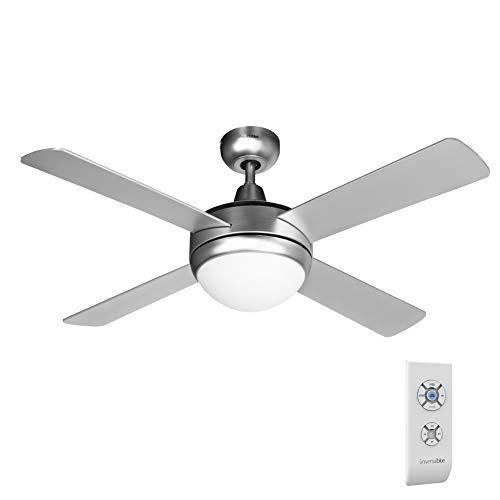 UNIVERSALBLUE | Ventilador de Techo INOX | Luz | Mando a Distancia | 60 W | 106 cm | Temporizador
