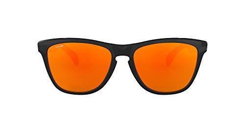 Oakley Unisex Frogskins Valentino Rossi Signature Series Sonnenbrille, Mehrfarbig (Gestell: poliert schwarz Gläser: Fire Iridium 24-325), Large (Herstellergröße: 55)