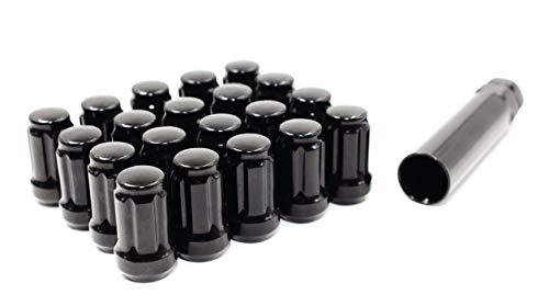 "Set of 20 Veritek 12x1.25mm Black 1.4"" 35.5mm Spline Drive Conical Seat Tuner Lug Nuts with 19mm 21mm Key for Aftermarket Custom Wheels"