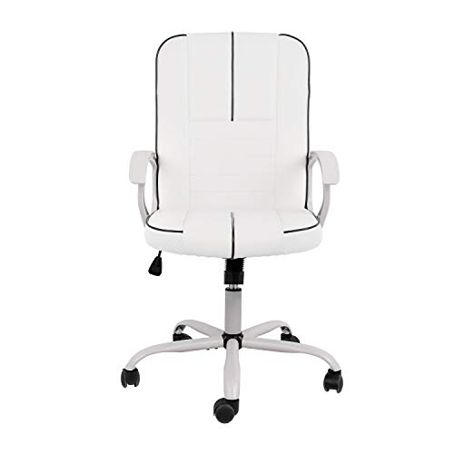 Ergonomic Executive White PU Leather Task Chair for Office & Home Office, Height Adjustable
