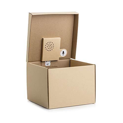SUCK UK Musical Gift Box-Nehmen Sie Ihre eigene Nachricht auf, Papier, Braun 19.5 x 14.3 x 19.1 cm