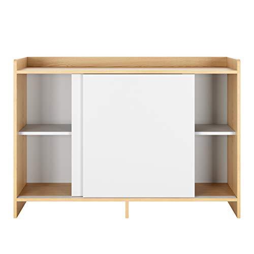Homfa Kinderregal Kommode mit Schiebetüren und 4 Fächern Schrank Sideboard Mehrzweckschrank Küchenschrank Bücherschrank Spielzeugregal 108 x 30 x 75,5 cm
