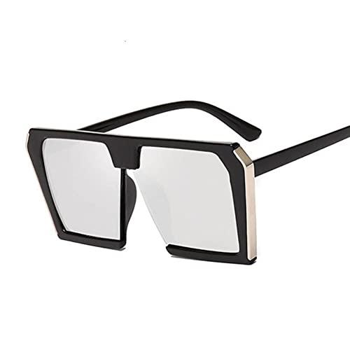 UKKD Gafas De Sol Mujeres Moda Cuadrada Gafas De Sol Mujeres Marca De Lujo Grande Gafas De Sol Negro Espejo Hembra Espejo Tonos Damas-Black Silver