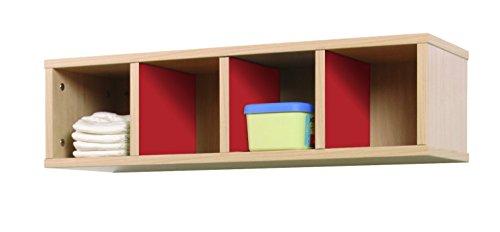 Mobeduc ladekast, 4 vakken, 80-22, beuken, kersenrood, 80 x 28 x 22 cm