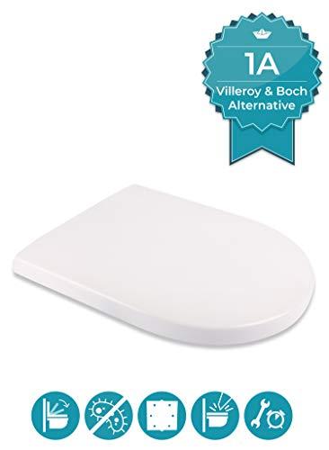 Calmwaters® Antibakterieller WC Sitz für Villeroy & Boch Subway/Artic/Architectura mit Absenkautomatik, rostfreie Edelstahl-Top-Fix-Befestigung, überlappende D-Form, Duroplast, Weiß - 26LP3465