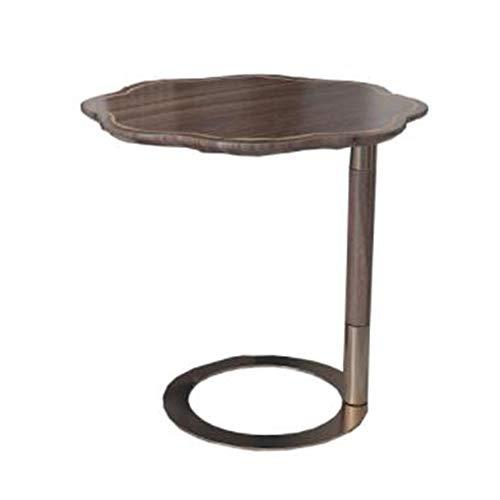 LIANG Mesa de esquina de madera maciza/mesa auxiliar redonda con marco de metal resistente, mesa de sofá redonda, mesita de noche para sala de estar, dormitorio, fácil montaje de 17.7 x 24.4 pulgadas
