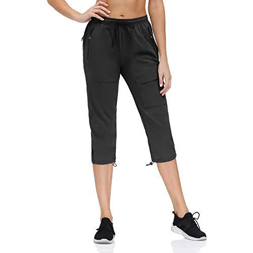 Damskie spodnie turystyczne outdoorowe lekkie skarpety wspinaczkowe szybkoschnące ochrona przed promieniowaniem UV z kieszeniami na zamek błyskawiczny (czarna capri, XL)