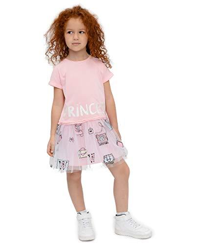 GULLIVER Meisjes Jurk Kinderen Zomerjurkje met Tule Rok Roze Casual Korte Mouw 98-128 cm