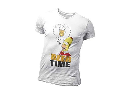 Playera unisex de algodón personalizable, para regalo de Homer Simpson Blanco Y...