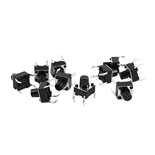 Gaetooely 10 piezas 6 x 6 x 7mm 4 Pines DIP Interruptor de boton pulsador de tacto tactil momentaneo de PCB