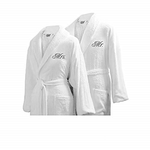 Luxor Linens Couple's Terry Cloth Bathrobe Egyptian Cotton Unisex/One Size Luxurious Soft Plush Elegant San Marco (2 Robes, Mr/Mrs)