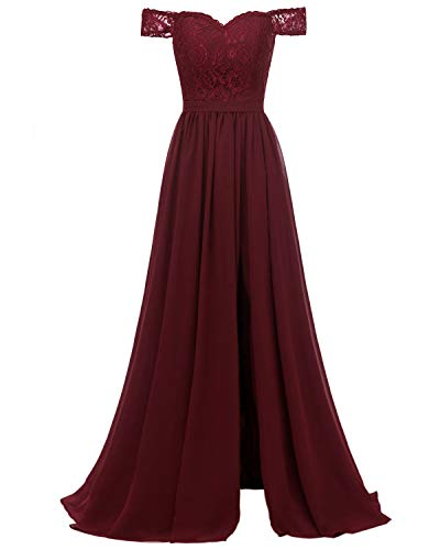 Molisa Off Shoulder Lace Bridesmaid Dress with Slit Chiffon Prom Dresses Long Wedding Evening Gown Burgundy Size 14
