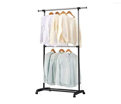 WY-YAN Kitchen shelf Coat Rack hanger hook up Floor Liftable Drying Rack Hangers Adjustable Shelf Indoor And Outdoor Coat Racks Stainless Steel With Caster