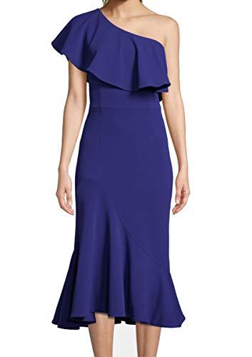 Betsy & Adam Womens Crepe Ruffled Midi Dress Blue 2