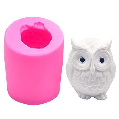 Moldes Bombones 4 PCS 3D OWL Molde de silicona Mousse Cake Molde de chocolate Práctico Aromaterapia Molde de yeso Creativo Horneado Herramientas Hornear Herramientas Hornear Moldes Silicona