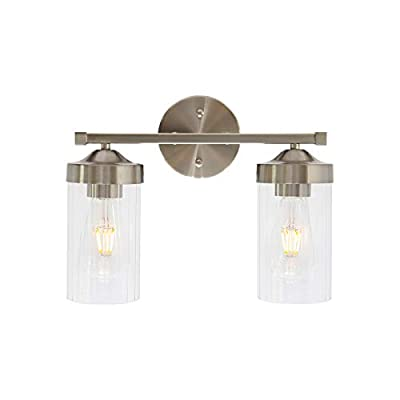 ELUZE 2 Light Farmhouse Bath Vanity Light, Modern Brushed Nickel Bathroom Wall Lighting Fixtures with Clear Glass Shade, Industrial Wall Mount Lamp for Bedroom Vanity Mirror Hallway Kitchen