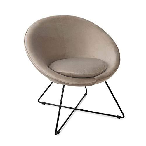 Butaca de diseño pequeña para Dormitorio Kane, Terciopelo, Color Gris Topo, cómoda, Mini sillón, Pata metálica,74x67x79 cm.