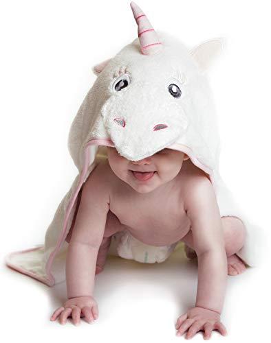 Little Tinkers World Einhorn Baby Badetuch   Kapuzenhandtuch   babyhandtuch  100% flauschige Baumwolle   Perfekt als Geschenk für Neugeborene, Kleinkinder, Kleinkinder, Mädchen   75x75 cm