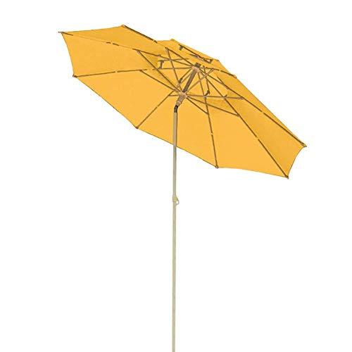 QULONG Paraguas de Patio Amarillo de 7 pies, sombrillas de Mesa de Mercado al Aire Libre, toldo de Repuesto con manivela de plástico e inclinable, Impermeable/a Prueba de Viento/Anti-UV