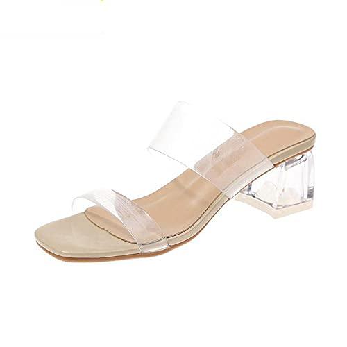 Sandalias De Mujer Zapatillas De Tacón Claro Sandalias Femeninas Mujer Zapatos Transparentes...