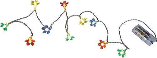Lichterkette mit 10 LED Blumen Blüten Grün Blau Rot Gelb