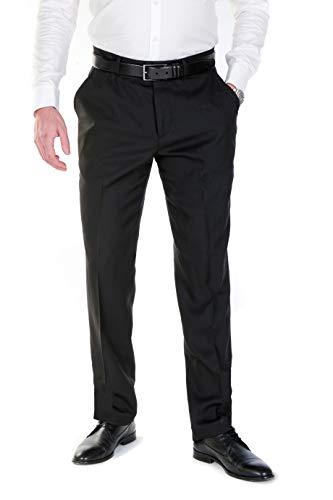 NGB Herren Anzughose Hose mit Bügelfalte - Regular Fit - Schwarz 52
