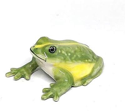 ZOOCRAFT Ceramic Green Frog Figurine Miniatures Craft Collectible Garden Decoration Prop