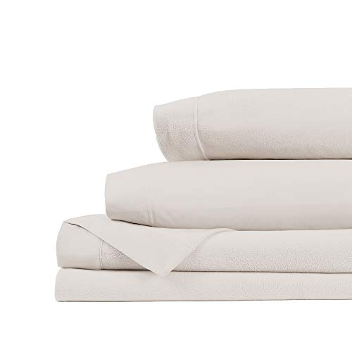Life Comfort Ultimate King Fleece Sheet Set, Soft Warm Cozy Breathable Winter Sheets for Bed, Durable, Super Smooth in Soft Neutral White