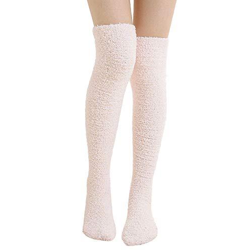 FIRSS Damen Stickerei Kniestrümpfe | Plüsch Socken | Lange Sportsocken | Elastisch Stützstrümpfe | Hoch Über das Knie Sportsocken | Casual Lose Strümpfe