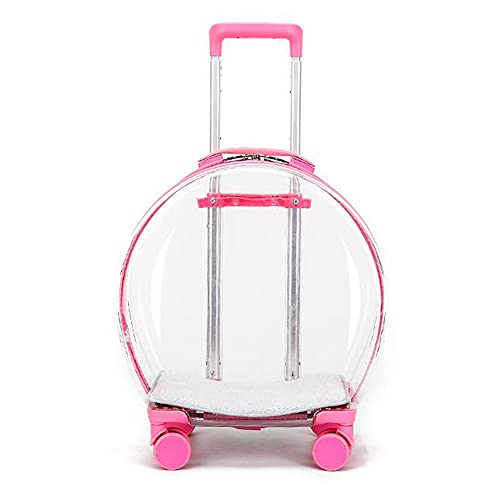 TREWQ Estuche para carrito de mascotas, rueda universal, con poste telescópico, transparente, suministros para mascotas, bolsa de vuelo, para gatos y perros, maleta para mascotas