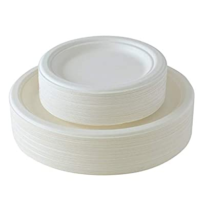[100 COUNT] Compostable eco-friendly Round Plates 50 dinner plates and 50 small dessert plates made from bagasse (sugarcane)