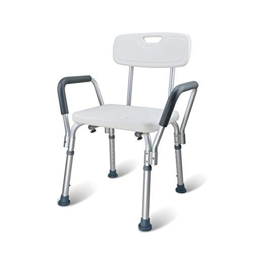 N\C Seguridad Confort Taburete de baño de aleación de Aluminio Ajustable Silla y Ducha Ancianos/Discapacitados/Embarazadas Taburete de baño Silla Antideslizante MAX. 136 kg (Blanco) LKWK
