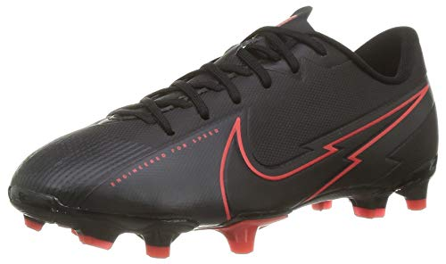 Nike Jr. Vapor 13 Academy FG/MG Football Shoe, Black/Black-Dark Smoke Grey-Chile Red, 35 EU