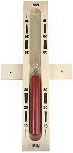 SudoreWell® Sauna Sanduhr 30 Minuten aus Holz mit rotem Sand