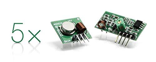5er Pack: 433 MHz Funk- Sende und Empfänger Modul Superregeneration Wireless Transmitter-Modul Einbrecher Alarm 433M receiver module Burglar Alarm für Arduino Raspberry