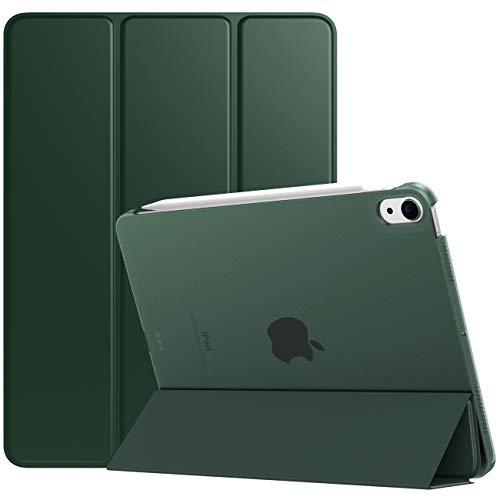 TiMOVO Funda para Nuevo iPad 10.9 Inch, iPad Air 4.ª Generación 2020, Cubierta de Tres Plegables con Posterior Transparente TPU Ligera con Auto Sueño/Estela, Verde Noche