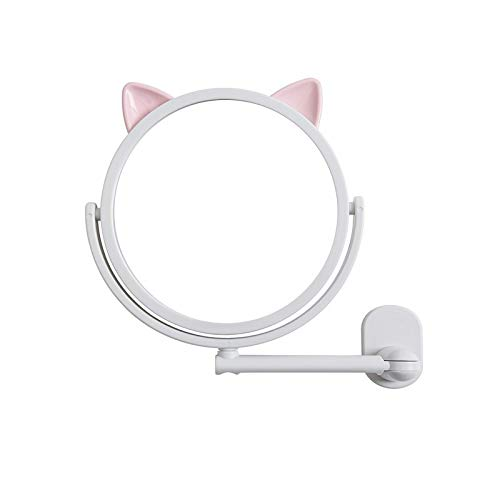 QAZW Espejo de Baño Espejo Colgante de Pared Espejo de Baño Espejo de Tocador Espejo de Tocador Espejo de Maquillaje Espejo de Baño Redondo,White-14.5cm