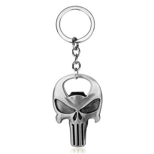 Punisher schedel plaat metalen flesopener sleutelhanger 2 - Praktische Summer Gifts,M